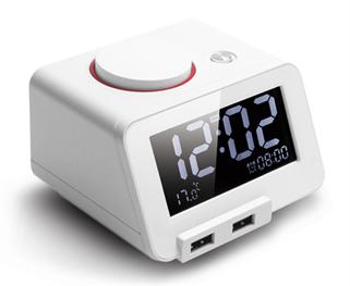 תמונה של רמקול שעון מעורר Bluetooth לבן