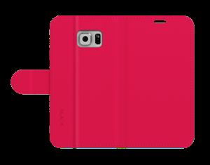 כיסוי ספר עור ורוד ל Galaxy S6 Edge