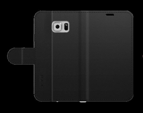 כיסוי ספר עור שחור ל Galaxy S6 Edge Plus