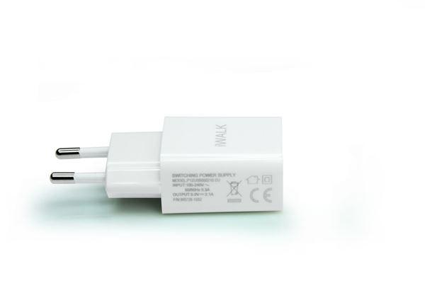 מטען בית 2.1A ל Micro USB עם כבל מתהפך