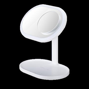 רמקול מראת איפור Momax עם טעינה אלחוטית ותאורה LED