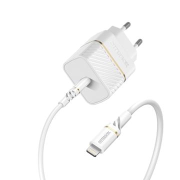 מטען בית Otterbox Premium דגם USB-C 20W+כבל Lighthning לבן